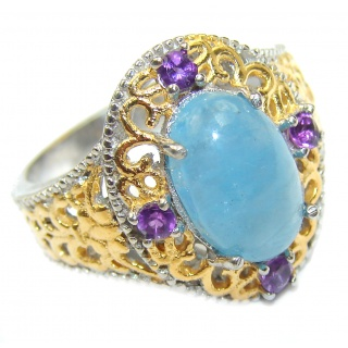 Spectacular genuine Aquamarine 14K Gold over .925 Sterling Silver handmade ring s. 7 3/4