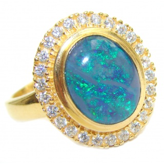 Australian Doublet Opal 18K Gold over .925 Sterling Silver handcrafted ring size 8