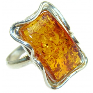 Authentic Baltic Amber .925 Sterling Silver handcrafted ring; s 10 1/4