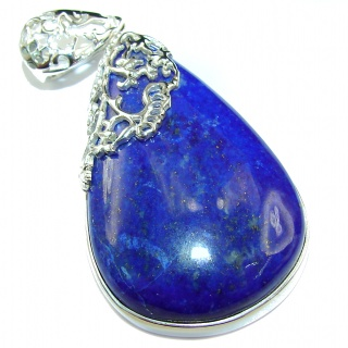 Bold Royal Blue Lapis Lazuli .925 Sterling Silver handcrafted Pendant