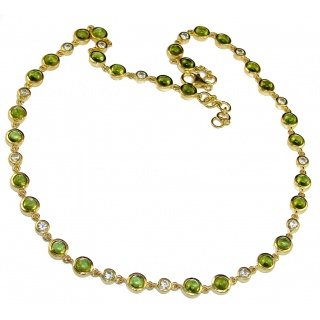 Great Masterpiece genuine Peridot 18K Gold over .925 Sterling Silver handmade necklace