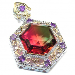 Deluxe Red Green Hexagon cut Watermelon Tourmaline Topaz pendant .925 Sterling Silver handmade Pendant