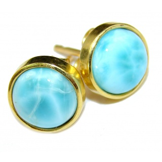 Precious genuine Blue Larimar 14K Gold over .925 Sterling Silver handmade earrings