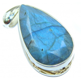 Incredible 60ct Fire Labradorite 18k Gold over .925 Sterling Silver handmade Pendant