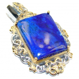 Perfect Lapis Lazuli 18K Gold over .925 Sterling Silver handcrafted Pendant