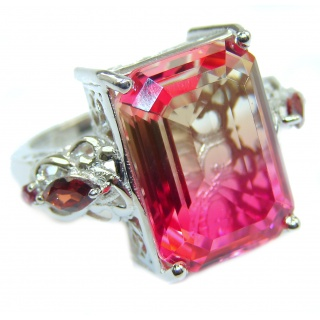 HUGE emerald cut Volcanic Pink Tourmaline Topaz .925 Sterling Silver handcrafted Ring s. 9