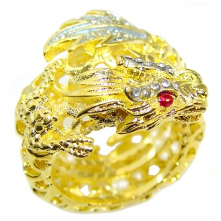 Golden Dragon Gold over .925 Sterling Silver handmade Ring size 6