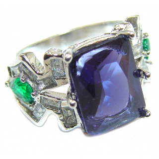 Large created Sapphire & White Topaz Sterling Silver ring; s. 7