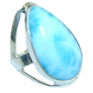 LARGE Natural Larimar .925 Sterling Silver handcrafted Ring s. 8