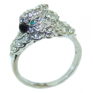 Parrot Cubic Zirconia .925 Sterling Silver handmade Ring size 7