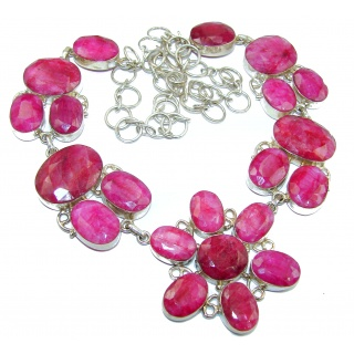 Huge natural Ruby .925 Sterling Silver handmade necklace