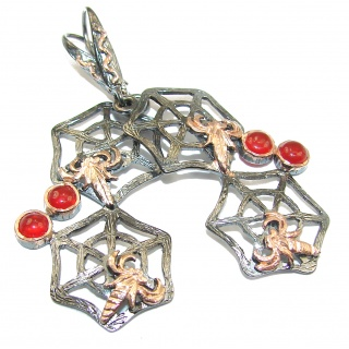 Spiders Orange Carnelian 14K Gold over .925 Sterling Silver handmade earrings