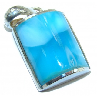 Incredible inlay Larimar .925 Sterling Silver handmade Pendant