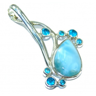 Natural Larimar .925 Sterling Silver handcrafted pendant