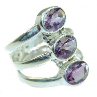 Spectacular genuine Amethyst .925 Sterling Silver handcrafted Ring size 6