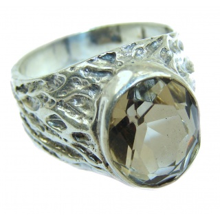 Authentic Smoky Topaz .925 Sterling Silver handcrafted ring; s 7 1/4