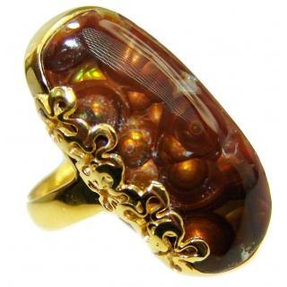 Genuine Fire Agate 18K Gold over .925 Sterling Silver Ring size 7 adjustable