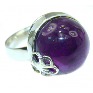 Spectacular genuine Amethyst .925 Sterling Silver handcrafted Ring size 7 1/4