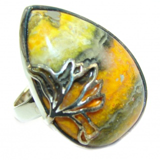 Vivid Beauty Bumble Bee Jasper .925 Sterling Silver ring s. 7 adjustable