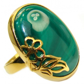 Natural Sublime quality Malachite 18K Gold over .925 Sterling Silver handcrafted ring size 7 adjustable