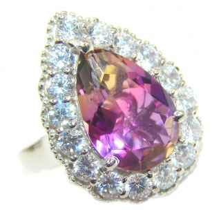 HUGE pear cut Ametrine .925 Sterling Silver handcrafted Ring s. 7