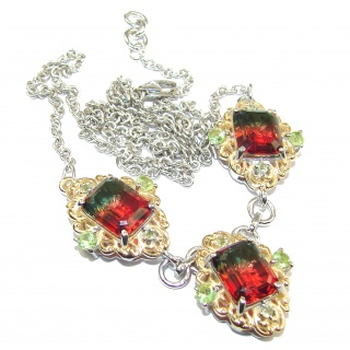 Emerald cut Watermelon Tourmaline color Topaz .925 Sterling Silver handcrafted necklace