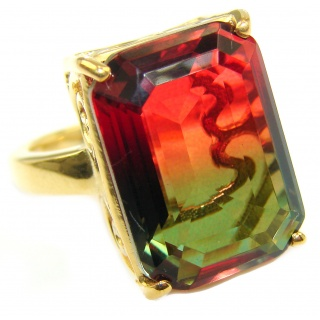 HUGE Top Quality Magic Volcanic Tourmaline color Topaz .925 Sterling Silver handcrafted Ring s. 7 1/4