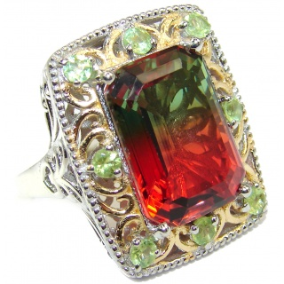 Huge Top Quality Volcanic Pink Tourmaline color Topaz .925 Sterling Silver handcrafted Ring s. 9