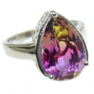 Genuine 25ct Ametrine .925 Sterling Silver handcrafted ring; s. 7 3/4