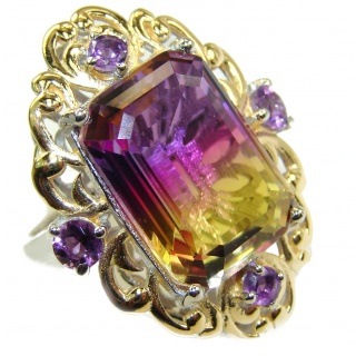 HUGE Emerald cut Ametrine .925 Sterling Silver handcrafted Ring s. 7 1/4