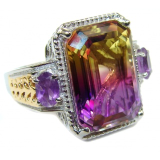 HUGE emerald cut Ametrine .925 Sterling Silver handcrafted Ring s. 8 1/4