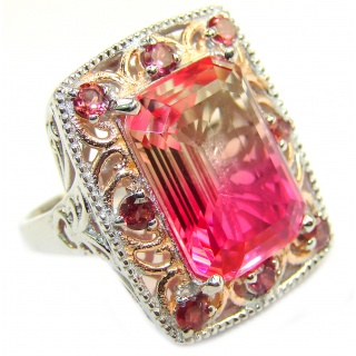 Huge Top Quality Volcanic Pink Tourmaline color Topaz .925 Sterling Silver handcrafted Ring s. 9 1/4