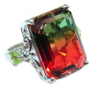HUGE Top Quality Magic Volcanic Pink Tourmaline Topaz .925 Sterling Silver handcrafted Ring s. 6 1/2