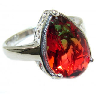 Genuine 25ct Tourmaline .925 Sterling Silver handcrafted ring; s. 7 1/4