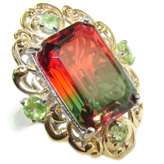 HUGE Emerald cut Watermelon Tourmaline color Topaz .925 Sterling Silver handcrafted Ring s. 6 1/2