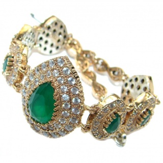 Created Emerald 14K Gold over .925 Sterling Silver handcrafted Bracelet