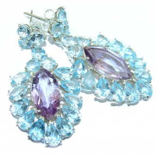 Authentic Amethyst Swiss Blue Topaz .925 Sterling Silver handmade earrings