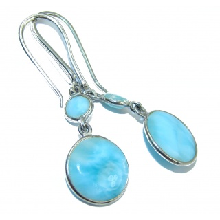 Blue Temptation Larimar .925 Sterling Silver handmade earrings