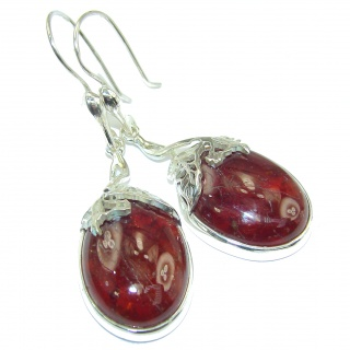 Large Authentic 65ct Garnet .925 Sterling Silver handmade earrings
