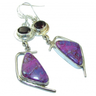 Sublime purple Turquoise .925 Sterling Silver handmade earrings