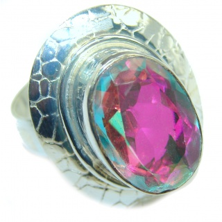 Rainbow Quartz .925 Sterling Silver handcrafted Ring Size 6