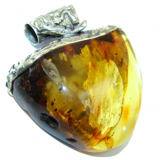 LARGE 52.2 grams Natural Baltic Amber .925 Sterling Silver handmade Pendant