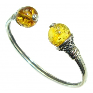 Chunky Luxury Baltic Amber .925 Sterling Silver handmade Hinged Cuff/Bracelet