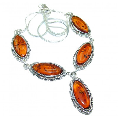 Honey Droplets Natural Baltic Amber .925 Sterling Silver handcrafted necklace