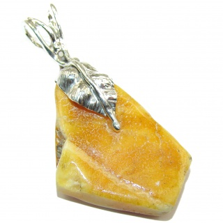 Natural Baltic Butterscotch Amber 14K Gold over.925 Sterling Silver handmade Pendant