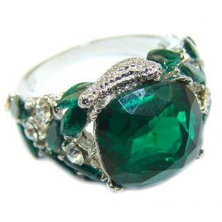 Vintage Style Chroem Diopside Quartz .925 Sterling Silver handcrafted Ring s. 7