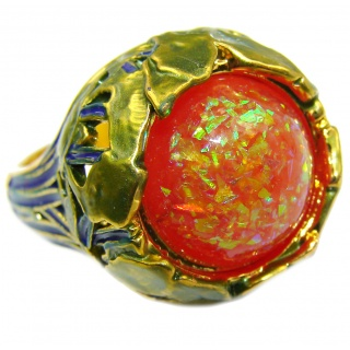 Dichroic Glass .925 Sterling Silver handmade ring size 7 1/4