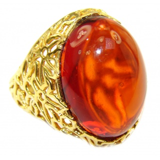 Authentic Baltic Amber 18k Gold over .925 Sterling Silver handcrafted ring; s 8 adjustable
