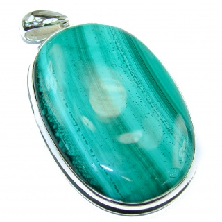 Top Quality 45.2 grams authentic Malachite Oxidized .925 Sterling Silver handmade Pendant