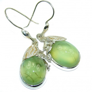 Rustic Design Juicy Authentic Moss Prehnite 14K Gold over .925 Sterling Silver handmade earrings